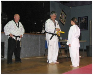Mr Kevin Donaldson and Master Michael Tan at an Ipswich TKD grading.