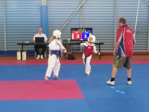 Abigail sparring (in red)