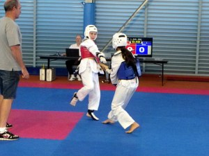 Linsey sparring (in red)