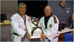 TKD dobok cake for Mr Donaldson (with Grandmaster Michael Tan)